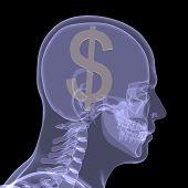 Постер, плакат: Золотой доллар в голове
