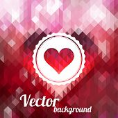Label With Heart On Color Background Made Of Triangles