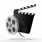 clap board with film reel