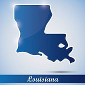 icono brillante en forma de estado de Louisiana, Estados Unidos