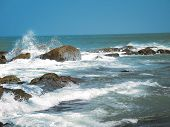 stock photo of kanyakumari  - Beautiful sea of Capecomorin or Kanyakumari India.