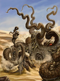 image of kraken  - The fierce kraken appears on the desert - JPG