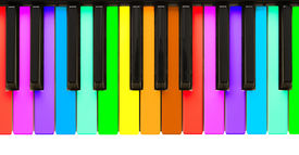 picture of rainbow piano  - Rainbow piano keys isolated on a white background - JPG
