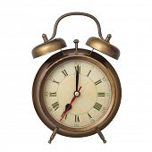 Brown old style alarm clock isolated on white