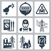 image of power transmission lines  - Vector power industry icons set - JPG