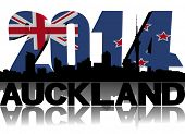 Auckland skyline with 2014 flag text illustration