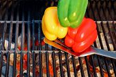 Colorful Bell Pepper On The Bbq Cast Iron Grill