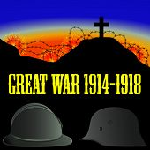 picture of world war one  - illustration of French and German helmets from First World War  - JPG