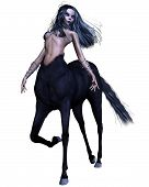 stock photo of centaur  - Female gothic centaur with black horse coat and dark goth - JPG