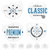 Vector vintage badge and label templates. Great for badges, packaging, and retro designs. Easy to ed