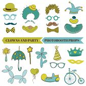 Clown and Party - Photobooth Set - Glasses, hats, lips, mustache, masks - in vector