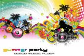 pic of beach party  - Disco Dance Colorful Tropical Music Event Flyer - JPG