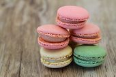 Delicious colorful macaroons with copy space, close up