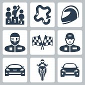 stock photo of race track  - Vector race icons - JPG