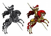 picture of paladin  - Illustration victorious knight with lance on a horse - JPG