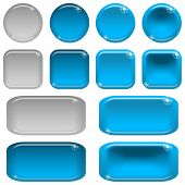 image of state shapes  - Set of glass blue buttons - JPG