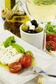 picture of italian food  - delicious Italian tomato mozzarella olives and wine - JPG