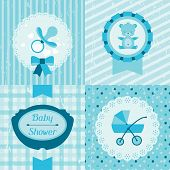 image of doilies  - Boy baby shower invitation cards - JPG