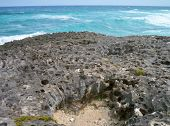 View out to sea over the coral rocks at Cozumel, Mexico