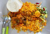 picture of biryani  - Indian spicy mutton Curry and Biryani Rice - JPG