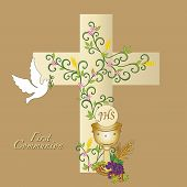 picture of chalice  - illustration for first communion with cross dove and chalice - JPG