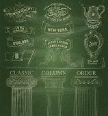 Vector. Set of retro elements: baroque frames, banners, retro labels, classic columns, flag, teapot. Chalk style