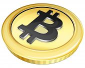image of bitcoin  - Vector illustration gold bitcoin on white background - JPG