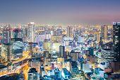 Osaka skyline and sktscraper building at dusk, Japan