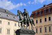 stock photo of duke  - Duke Carl August equestrian statue in Weimar - JPG