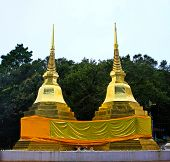 Two Golden Pagodas In Phra That Doi Tung Temple, Chiang Rai Province, Thailand