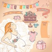 Cute hand drawn graphic set with pregnant woman and baby shower elements.