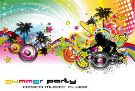 stock photo of beach party  - Disco Dance Colorful Tropical Music Event Flyer - JPG