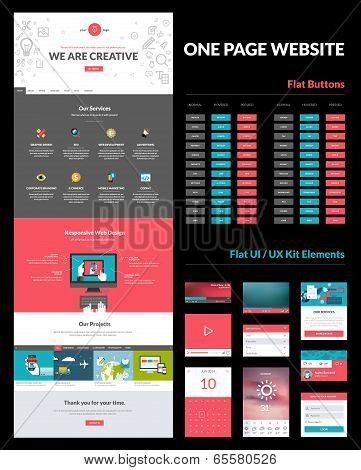 One page website design template poster