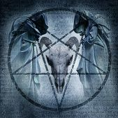 stock photo of pentacle  - Satanic Mass graphic with two hooded figures and a demonic ram head materialising within an occult pentagram against a dark weathered Latin text background - JPG