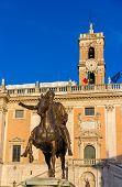 Equestrian Statue of Marcus Aurelius and Palazzo Senatorio in Ro