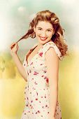 Vintage Pinup Woman With Pretty Make-up And Hair