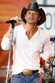 NEW YORK-MAY 23: Country music singer Tim McGraw performs at the Toyota Concert Series on the Today Show at  Rockefeller Plaza on May 23, 2014 in New York City.
