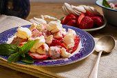 Meringue, Cream And Strawberries Dessert