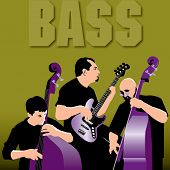 Three Bass Players Laying a Groove