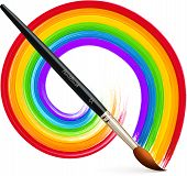Vector paintbrush with acrylic painted rainbow