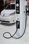 Nissan E-nv200 And Charging Station At The Geneva Motor Show