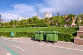 Samara, Russia - May 17, 2014: Green Recycling Containers At The Waterfront In Samara On A Sunny Day
