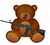stock photo of m16  - Teddy bear M16 on a white background - JPG