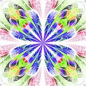Symmetrical Pattern In Stained-glass Window Style. Blue And Green Palette. Computer Generated Graphi poster
