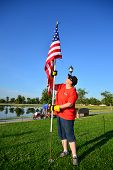 Planting American Flag