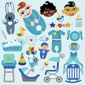 Cute Items For Baby Boyl.baby Shower Icons