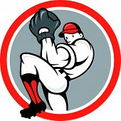 Baseball Pitcher Circle Cartoon