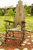 stock photo of throne  - Wooden old throne - JPG