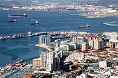 image of gibraltar  - View from the Rock of Gibraltar Gibraltar City and Gibraltar Bay  - JPG