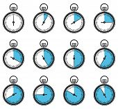 Set of vector timers or chronometers icons.
